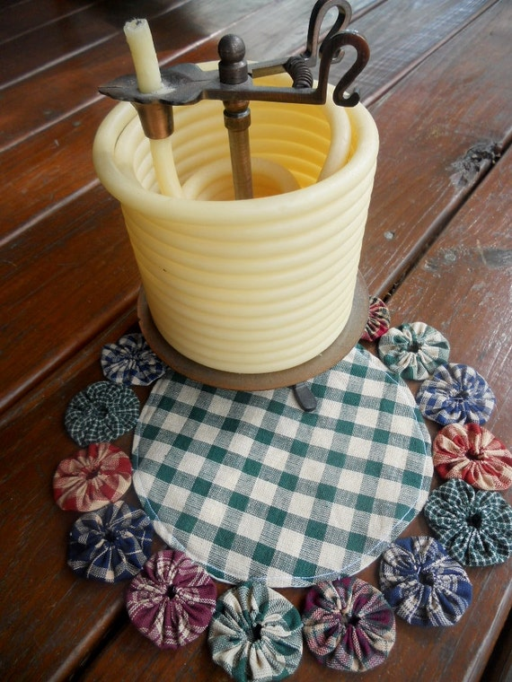 Items Similar To Primitive Country Decor Candle Mat Yoyo
