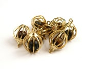 Gold Tone Tigers Eye Charm // Tigers Eye Golden Pendant // PAIR // Dangle Golden Charm // Earring Finding // Lapidary Supply // T2781