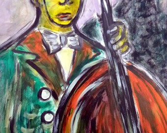 New Orleans Jazz Bass Player PeaceSwirl original painting