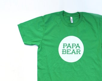 Papa Bear Grass Green Cotton TShirt with White print