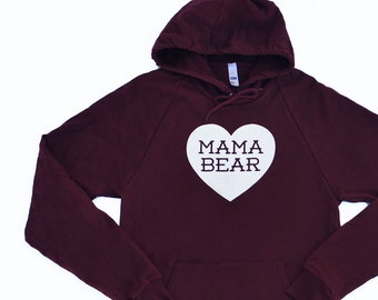 Mama Bear with Heart Cotton Burgundy Red Hoodie Sweatshirt with White print
