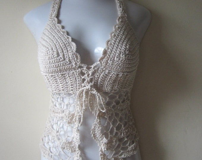 crochet halter top, crochet lingerie, Romantic GIFT, bralet, festival clothing, gypsy, boho, beach cover up