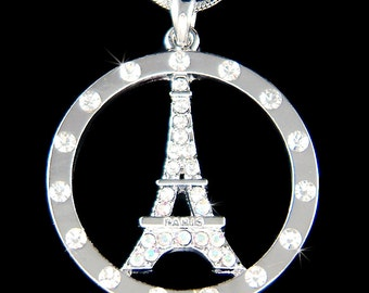 Swarovski Crystal French Eiffel Tower Paris France Circle of Love Round Honeymoon Jewelry Charm Necklace New Anniversary Christmas Gift New