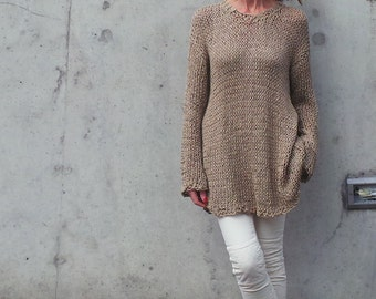 women's top beige cotton sweater dress / knitted dress /