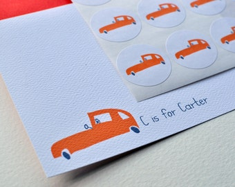 C is for ___ Car Thank You Cards or Personalized Stationery and Sticker Set