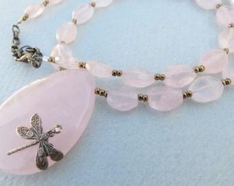 Faceted Rose Quartz Necklace