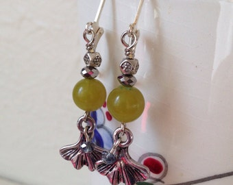 Green Gingko Leaves of Hope and Peace Dangle Earrings made with Green and Silver  Beads