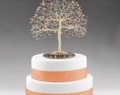 Fall Tree Cake Topper with Swarovski Crystal Topaz, Siam, Fireopal, Smoked Topaz on Gold tone Wire Decor Wedding Cake Topper