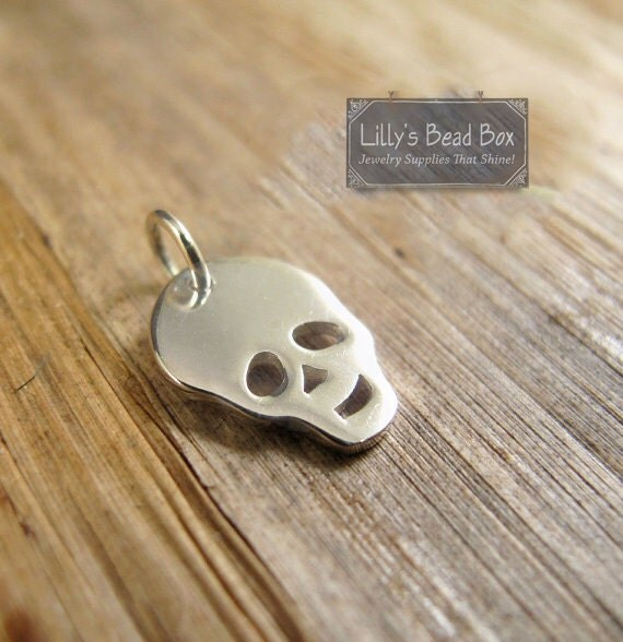 Silver Skull Charm, Sterling Silver Skull Charm, Skeleton Pendant for Jewelry Making, Charm Necklace or Bracelet (Ch 694)