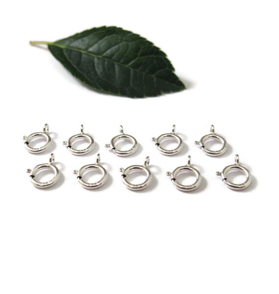 Silver Spring Ring Clasps, 10 Sterling Silver 6mm Spring Rings, Jewelry Supplies, Silver Findings for Finishing Jewelry (F-146s)