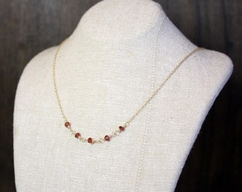 Petite Five-Stone Pearl Gemstone Necklace - Simple and Small - Choose Your Birthstone