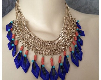 Egyptian Revival Bib, Collar, Chain and  Fringe Statement Necklace, Matching Earrings, Vintage Czech Glass, Cobalt, Coral