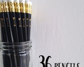 black pencils with gold foil arrow - set of 36