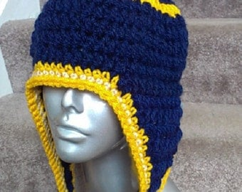 Crocheted Hat with Earflaps- Blue