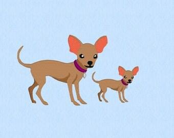Chihuahua dog - 2 sizes - machine embroidery design file