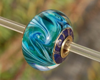 Whirlpools - Capped & Cored Dan O Lampwork Bead for european style add a bead chains