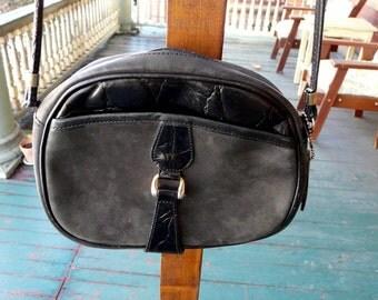 Vintage black leather crossbody satchel purse handbag