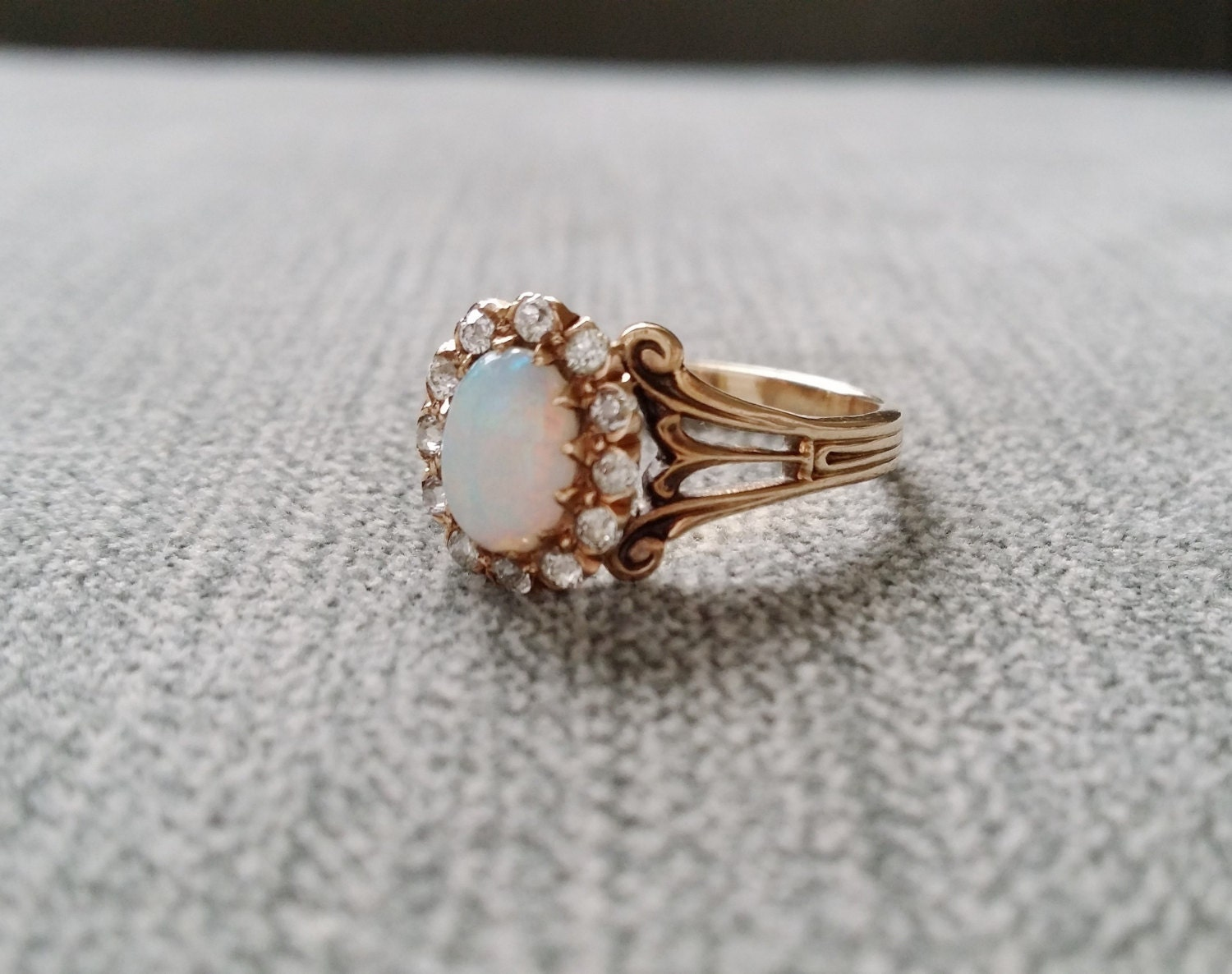 Antique Opal Diamond Engagement Ring Edwardian by PenelliBelle