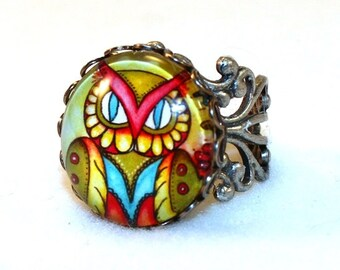 Owl Ring, Antique Silver Mexican Style Art Ring, Filigree Cocktail Ring Jewelry, Original Owl Art Print, Yellow Blue Red