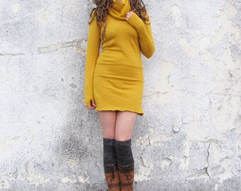 Organic Chunky Cowl Pokara Mini Dress  (hemp/organic cotton fleece) - organic dress