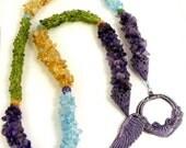 Gemstone Lariat, Semiprecious Stone Necklace, Statement Necklace, Peridot Necklace. Amethyst Necklace, Citrine Necklace, Colorful Long