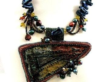 Blue Pearl Necklace, Statement Pearl and Raku Jewelry, Colorful Burgundy Crystal Handmade