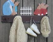 Kids Coat Rack BUNNY RABBIT  Peg Rack - Hand Painted Wood