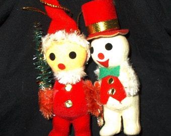 Vintage Japan Santa & Snowman Duo