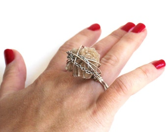 Sand Rose and Silver Ring that Rocks size 6.5