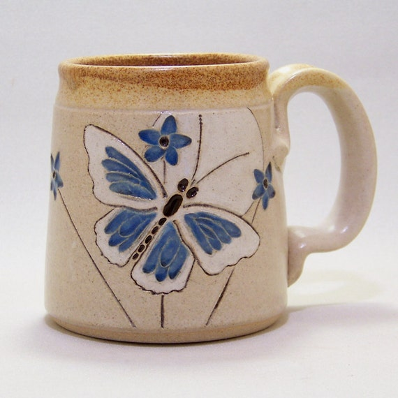Blue Butterfly  Pottery Coffee  Mug Limited Series 55 (microwave safe) 12oz