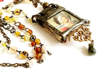 Miniature Book Pendant Mary And Angel Pendant Glass Journal Tiny Poem Book Charm Necklace Collage Art Journal Jewelry