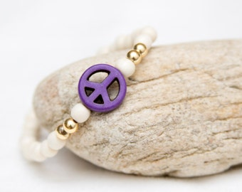 Peace bracelet, peace sign jewelry, peace sign bracelet, gift for her, stacked bracelet, wood bead bracelet, wood bracelet, boho bracelet
