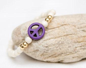 Peace stretch bracelet, boho chic fashion, hippie jewelry, wood beaded stretch bracelet, peace sign jewelry, peace sign bracelet