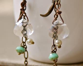 Baby's tears. crystal drop, dangle earrings.Tiedupmemories