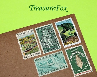 Green Acres .. Unused Vintage US Postage Stamps .. Enough to mail 5 letters. Country living, food for thought, vegetables, Television show