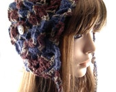Dark Brown, Navy Blue and Taupe Earflap Hat with Flower, EF136-01