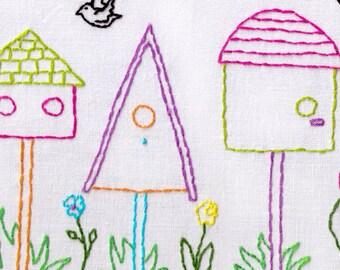 Bird Houses Hand Embroidery Pattern, Bird Houses, Home, Birds, PDF