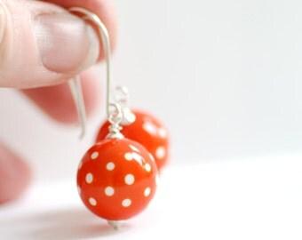 Funky Earrings, Orange and White, Lucite Earrings, Polkadot Jewelry, Sterling Silver, Dangle Earrings - Swiss Dot