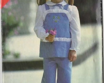 1980s Tunic and Pants Butterick See & Sew 6949 Vintage 80s Toddlers Sewing Pattern Size 2-3