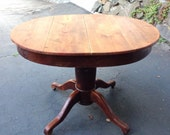 Antique American oak  solid wood pedestal dining table - rustic accent table