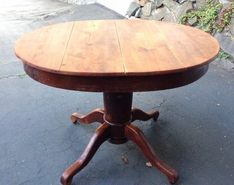 Antique American oak  solid wood pedestal dining table / accent table / rustic