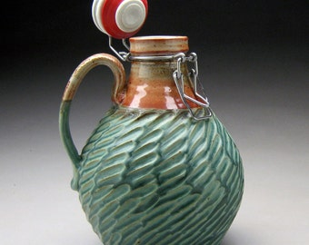 2 Liter Stoneware Pottery Beer Growler with Resealable Flip Top for Home Brewing - Auqa Matt Glaze