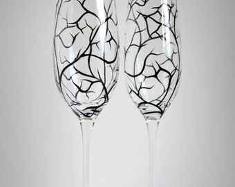 Winter Tree Branch Champagne Flutes - Set of 2 Personalized Wedding Toasting Flutes