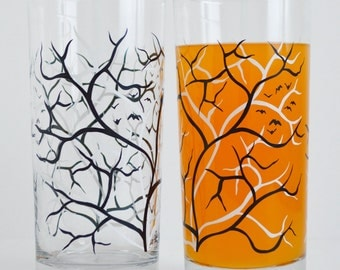 Halloween Glassware, Halloween Decor, Black and White Trees with Birds - Set of 2 Everyday Drinking Glasses