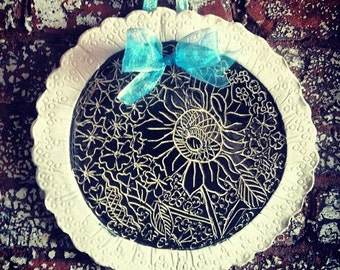 Sgraffito Flowers and Pressed Eyelet Lace into Clay Wall Hanging Art