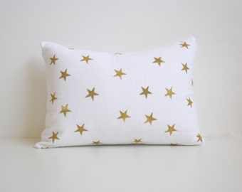 Star Decorative Throw Pillow - Minimal Christmas Decor - Silver and White Nursery Pillow - Grey and White Lumbar Pillow