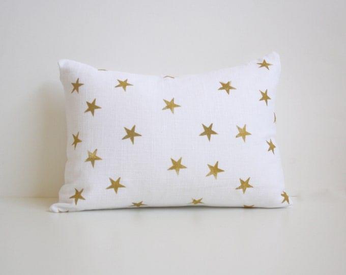 Star Decorative Throw Pillow - Minimal Christmas Decor - Silver and White Nursery Pillow - Grey and White Lumbar Pillow