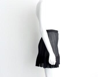 Black Pleated Skirt, Black Slip, Black Half Slip, Black Mini Skirt, Layering skirt, Mini Slip, Black Skirt, Sheer Slip, Norwegian Wood