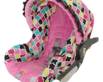 Spring 2014 Pink Multi Colored Infant Car Seat Cover Ready