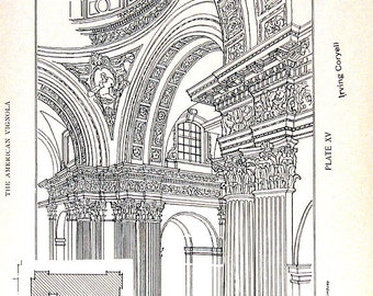 Architectural Drawings - The Cathedral at Brescia - 1906 Vintage Book Plate - American Vignola